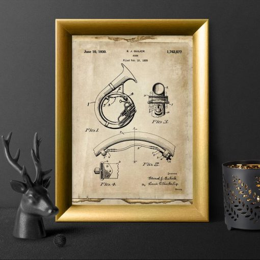 Plakat dęty róg blaszany - patent 1930r.