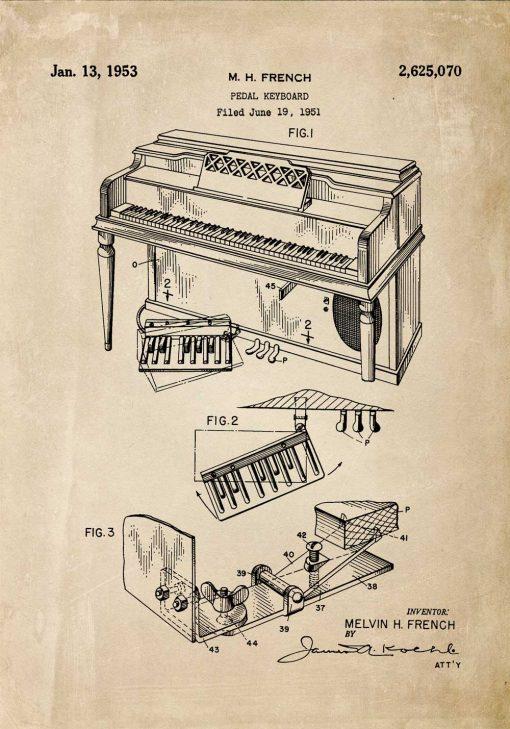 Plakat dla muzyka z patentem na pianino