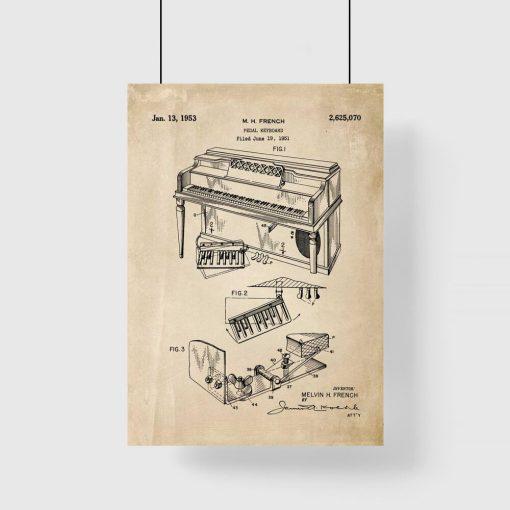 Plakat dla muzyka z patentem na pianino dla ucznia
