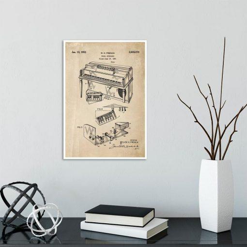 Plakat dla muzyka z patentem na pianino do biura