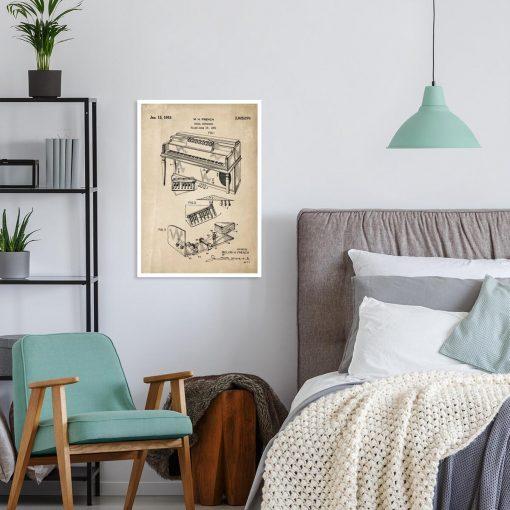 Plakat dla muzyka z patentem na pianino do sypialni