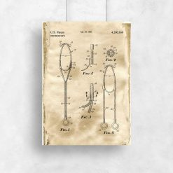 Plakat medyczny- Rysunek patentowy stetoskopu do gabinetu lekarskiego