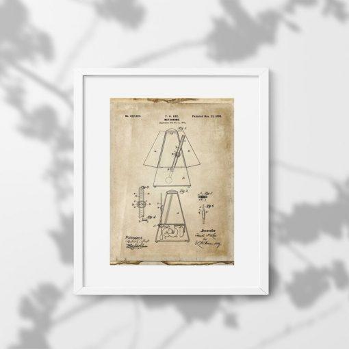 Plakat metronom - wynalazek z 1899r. - do dekoracji szkoły