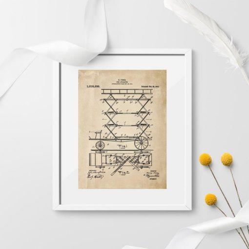 Plakat patent na mechaniczna drabinę pożarniczą - 1912r.