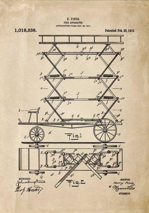 Plakat patent na rozkładaną drabinę do gaszenia pożarów