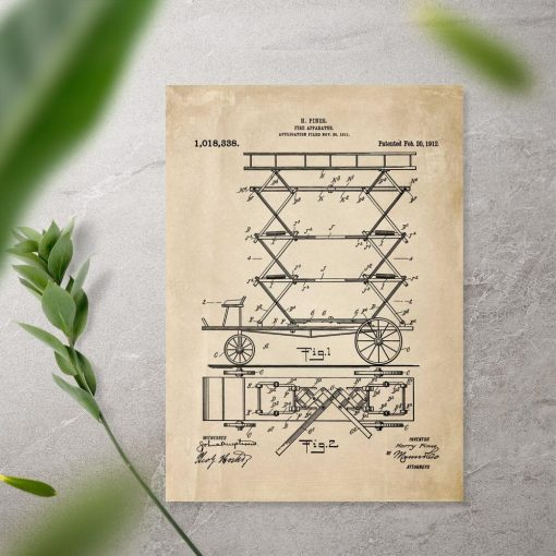 Plakat patent na urządzenie do gaszenia pożaru - drabina