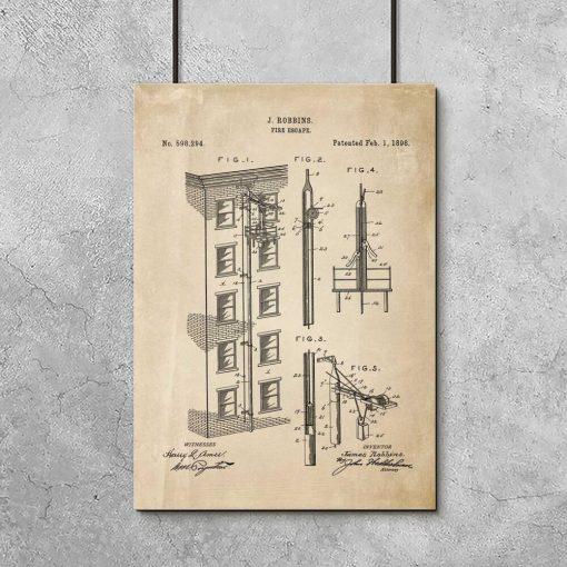 Plakat - patent na wyjście pożarowe - 1898r.