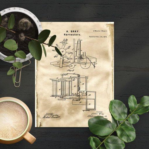 Plakat patent z 1874r. - maszyny rolnicza