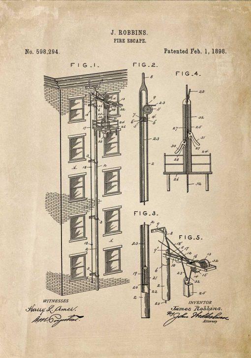 Plakat projekt i zgoda na budowę wyjścia pożarowego - 1898r.