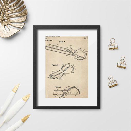 Plakat retro w sepii z rysunkiem patentowym na łyżkę do lodów