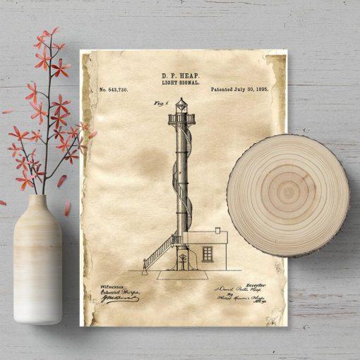 Plakat retro z koncepcją budowy latarni morskiej