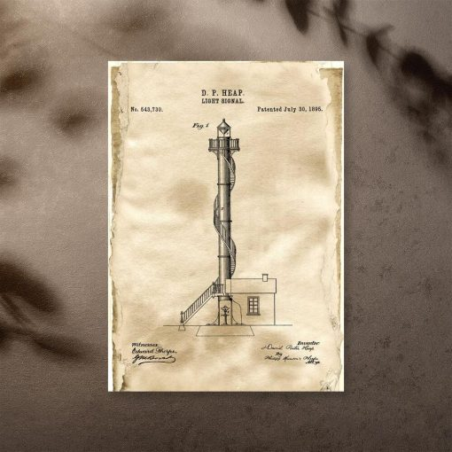 Plakat retro z licencją na budowę latarni morskiej