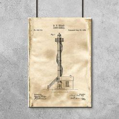 Plakat retro z motywem latarni morskiej - patent na budowę