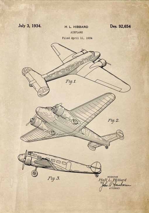 Plakat retro z patentem na aeroplan