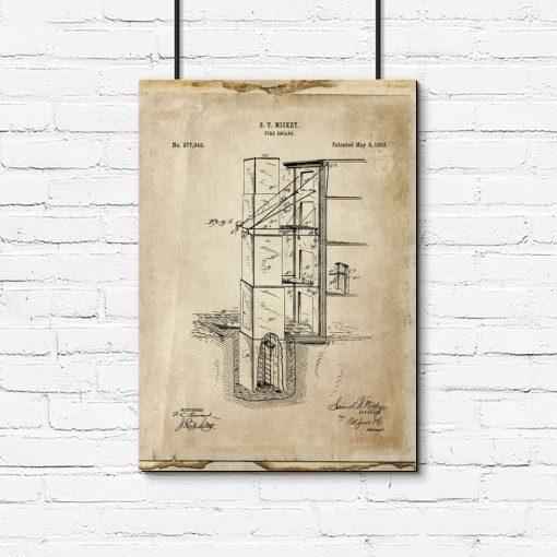 Plakat retro z patentem na budowlę przeciwpożarową
