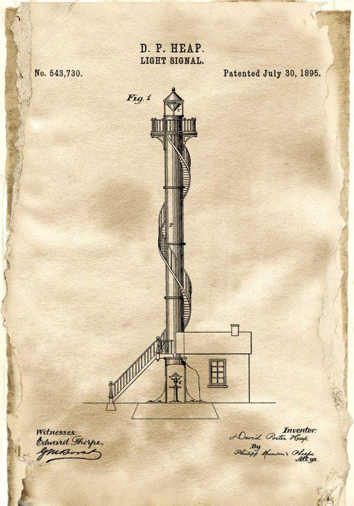 Plakat retro z patentem na latarnię morską - rok 1895