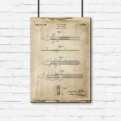 Plakat retro z patentem na skalpel dla chirurga