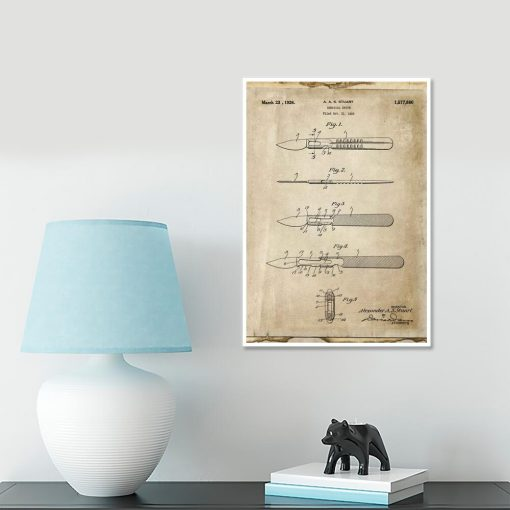 Plakat retro z patentem na skalpel dla weterynarza
