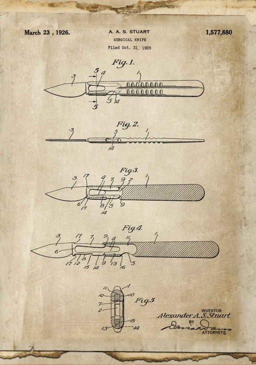 Plakat retro z patentem na skalpel do lekarskiego gabinetu