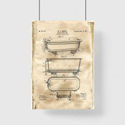 Plakat retro z patentem na wannę z 1901r.