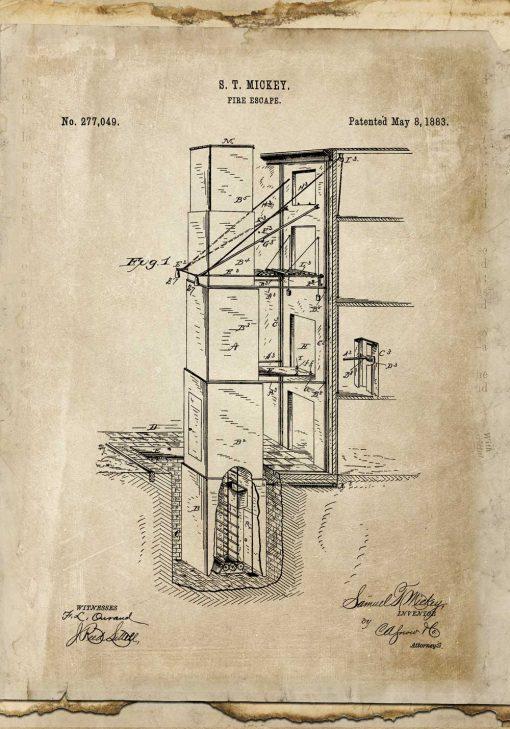 Plakat retro z patentem na wyjście pożarowe - 1883r.