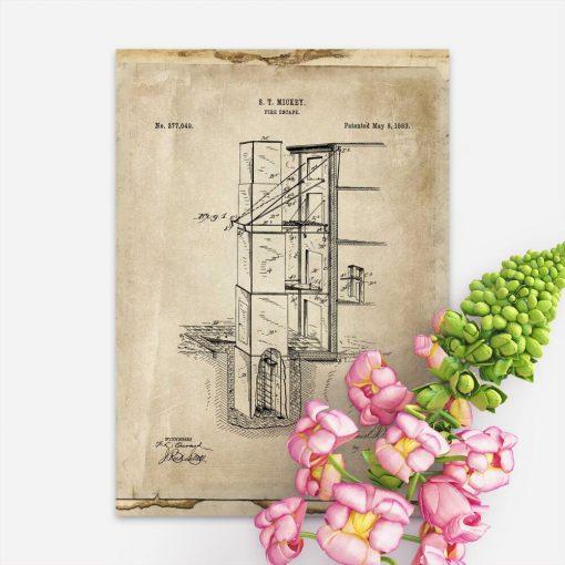 Plakat retro z patentem p.poż