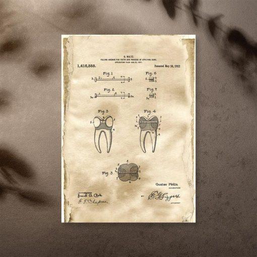 Plakat retro z patentem stomatologicznym