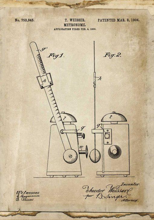 Plakat retro z rysunkiem metronomu z 1904r.