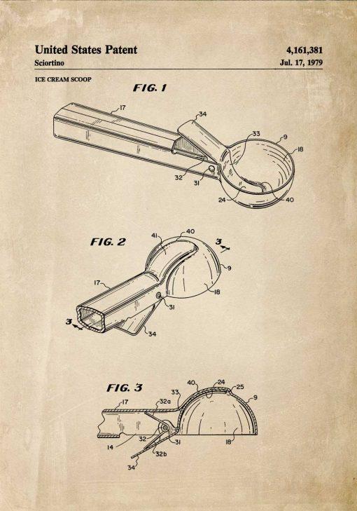 Plakat retro z rysunkiem patentowym na gałkownicę