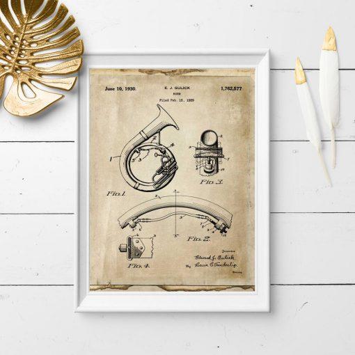 Plakat retro z rysunkiem patentowym na instrument muzyczny