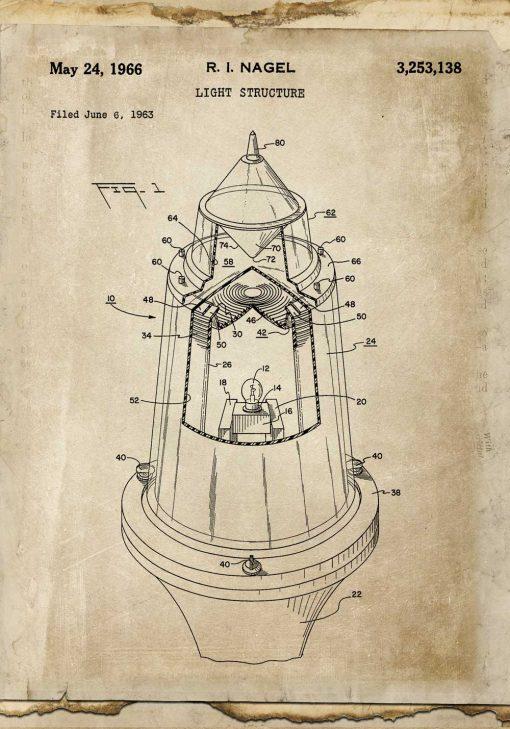 Plakat retro z rysunkiem patentowym na nowoczesne źródło światła z 1963r.