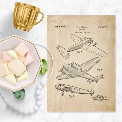 Plakat retro z samolotem - patent z 1934r.