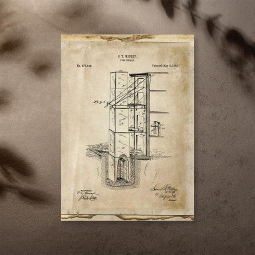 Plakat retro z wyjście pożarowym - patent