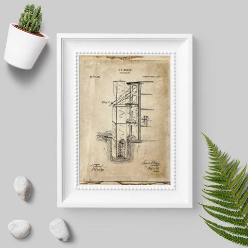 Plakat retro z wynalazkiem p. pożarowym
