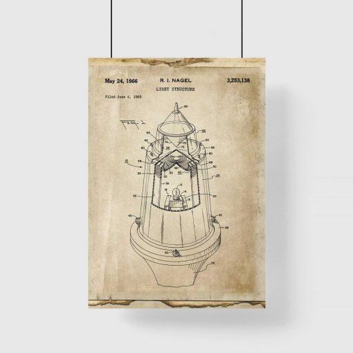 Plakat retro ze schematem budowy lampy