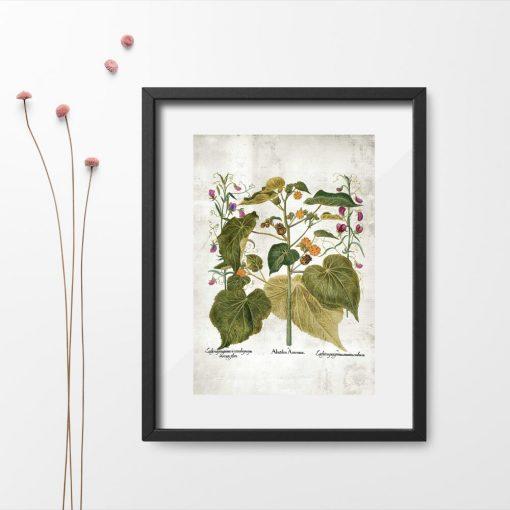 Plakat rustykalny zielone rośliny i kolorowe kwiatuszki