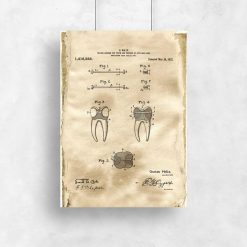 Plakat vintage z patentem stomatologicznym