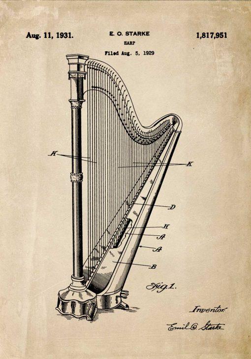 Plakat w sepii z harfą - patent 1931r.