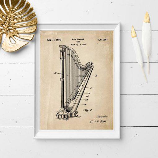 Plakat w sepii z instrument muzyczny - patent z 1931r.