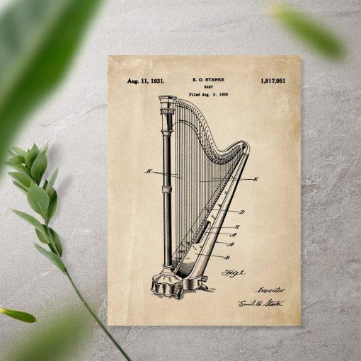 Plakat w sepii z instrumentem muzycznym