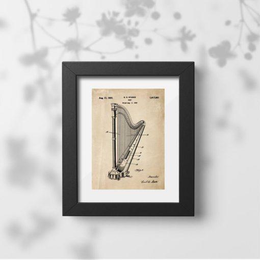 Plakat w sepii z instrumentem muzycznym - harfą