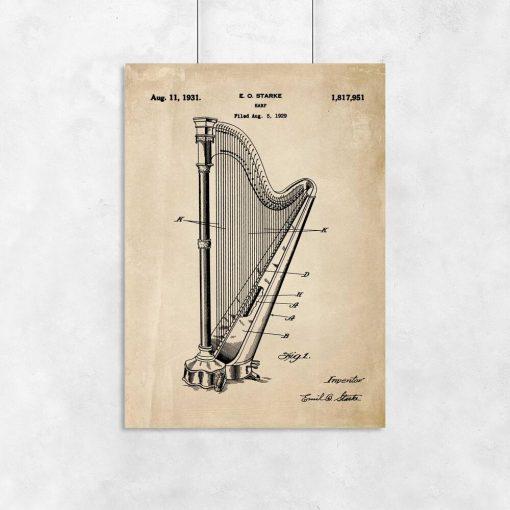 Plakat w sepii z motywem patentu na harfę