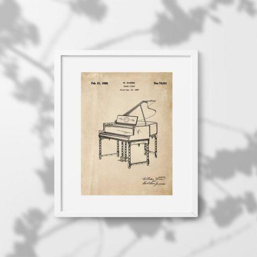 Plakat w sepii z patentem 1928r. - pianino