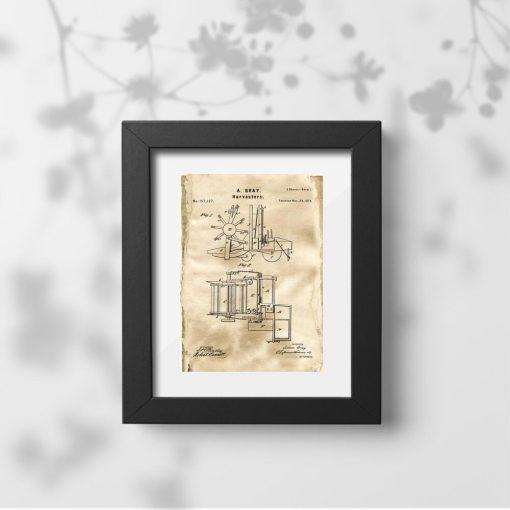 Plakat w sepii z patentem na maszynę rolniczą - 1874r.