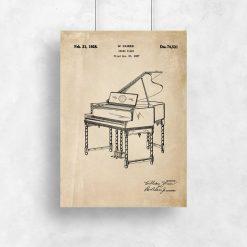 Plakat w sepii z pianinem - rysunek konstrukcyjny