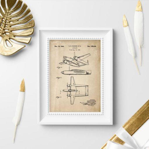 Plakat w sepii z samolotem dwukadłubowym - patent z 1943r.