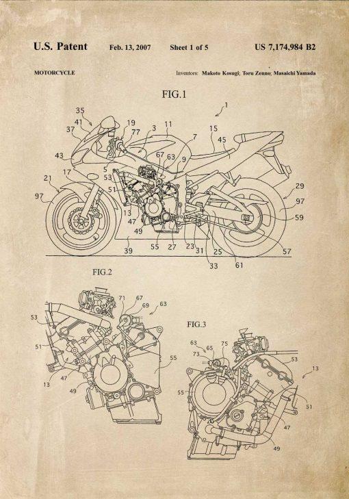 Plakat w stylu retro - patent na motocykl z 2007r.
