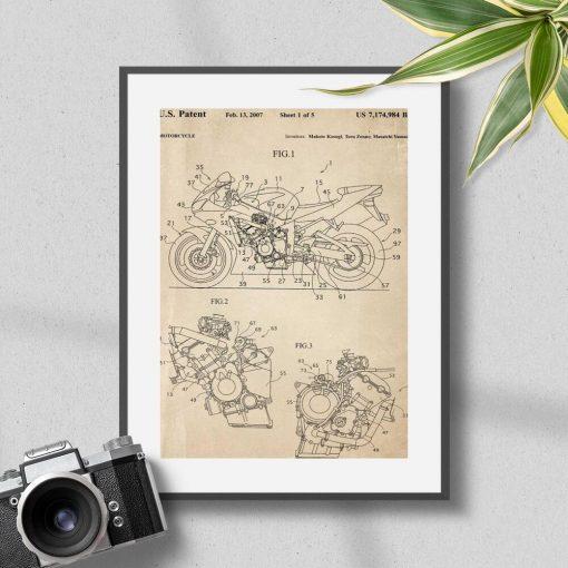 Plakat w stylu retro rysunek patentu na motocykl