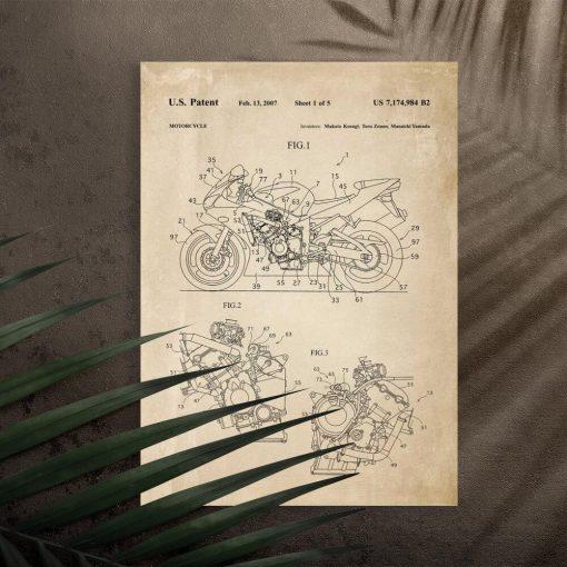 Plakat w stylu retro świadectwo produkcji motocykla