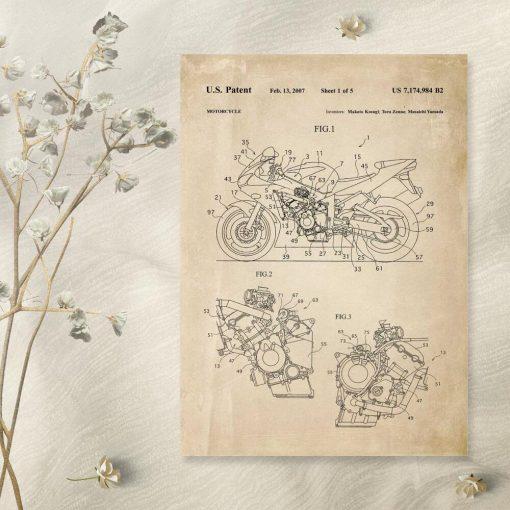 Plakat w stylu retro z projektem i licencją na produkcję motocykla